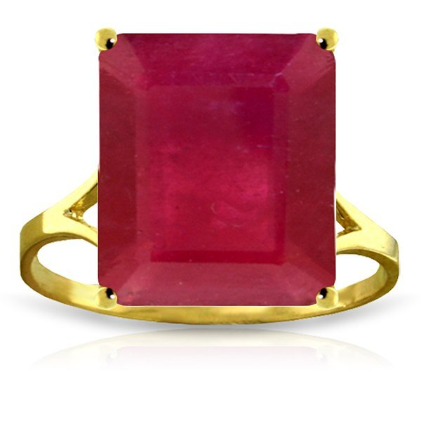 14K Solid Gold 6.50ct Octagon Ruby Ring