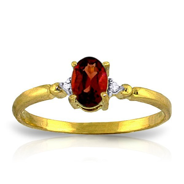 14K Solid Gold .45ct Oval Garnet & Diamond Ring