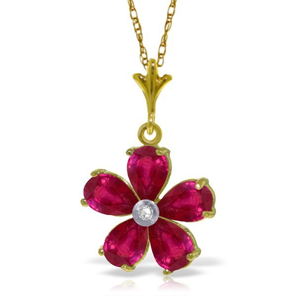 14k YG 2.20ct Ruby & Diamond Flower Necklace