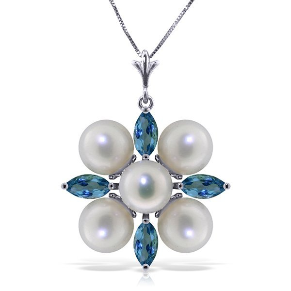 14k WG 5.00ct Pearl and 1.30ct Blue Topaz Necklace