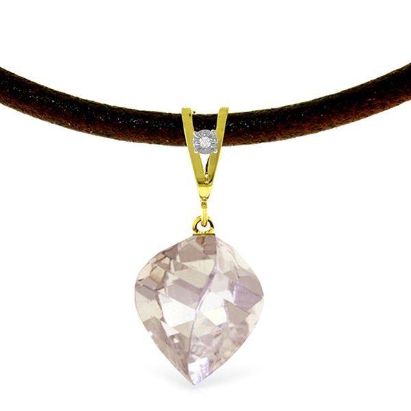14K Solid Gold 12.8ct White Topaz & Diamond Necklace