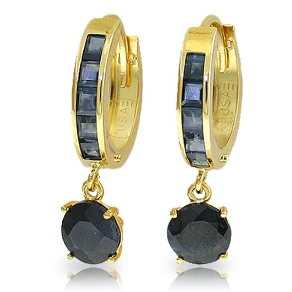 14K Solid Gold 2.0ct & 1.3ct Sapphire Huggie Earring
