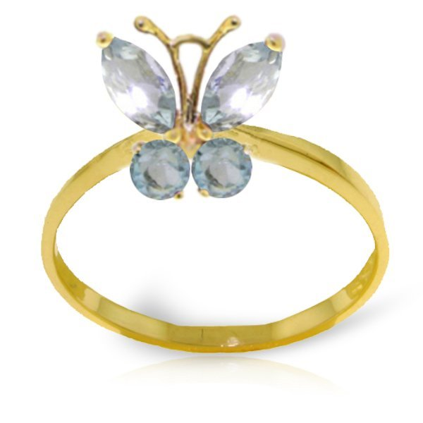 14k YG 0.60ct Aquamarine Butterfly Ring