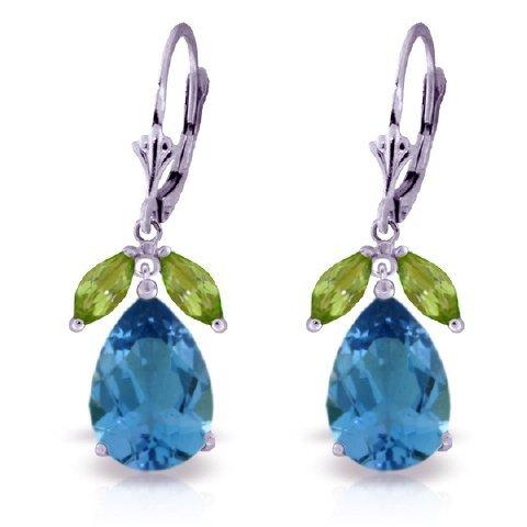 12.00ct Blue Topaz & 1ct Peridot Drop Earrings in 14k