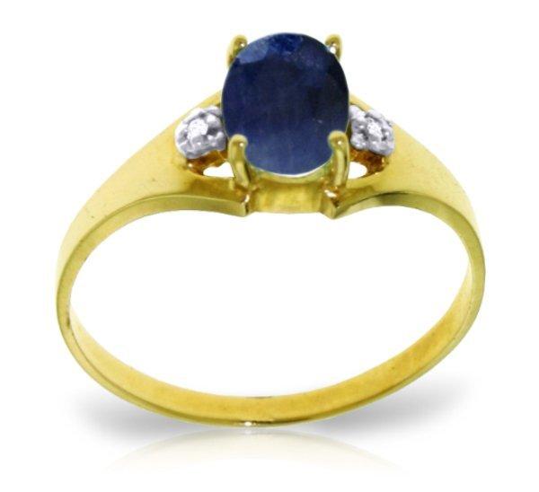 14K Solid Gold 1.25ct Sapphire & Diamond Ring
