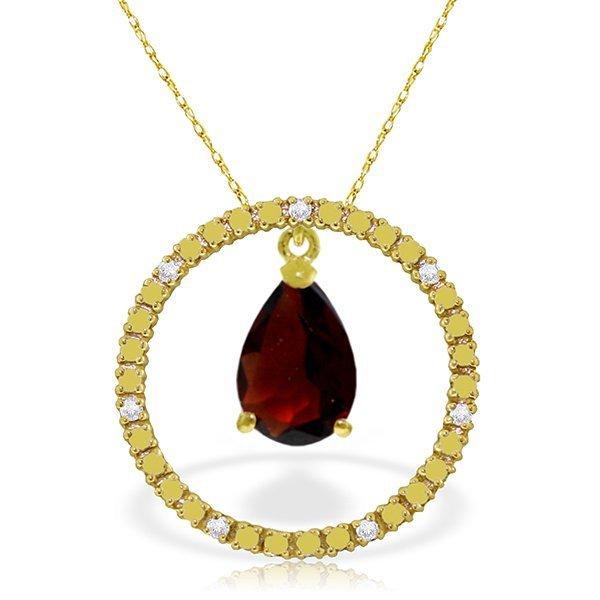 14K Solid Gold 6.5ct Garnet & Diamond Necklace