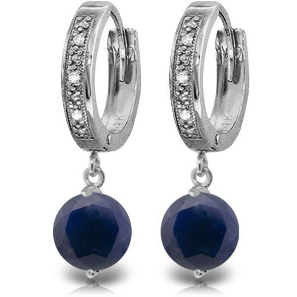 14K White Gold 3.3ct Sapphire & Diamond Hoop Earring