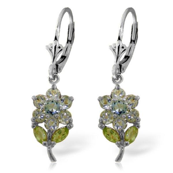 14k Solid Gold Aquamarine & Peridot Earrings