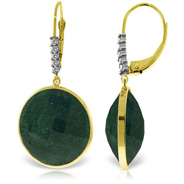 14K Solid Gold 46.0ct Emerald & .15ct Diamond Earring