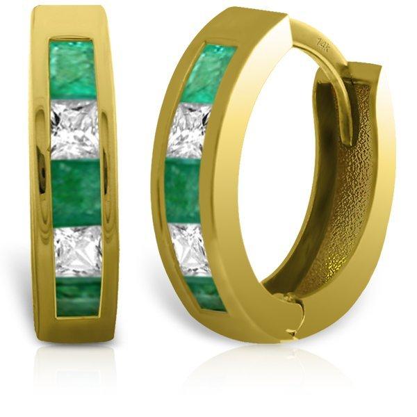 14k Solid Gold Emerald & White Topaz Earrings
