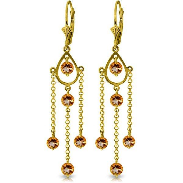 14k Yellow Gold 3.0ct Citrine Long Drop Earrings