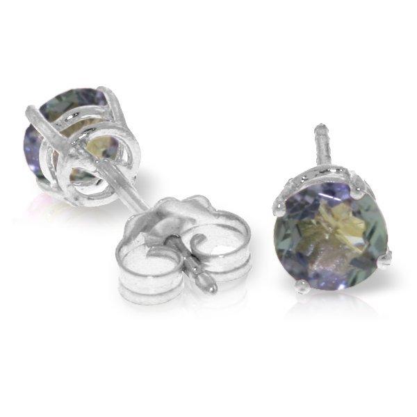 14k WHITE GOLD 0.95ct Tanzanite Stud Earrings