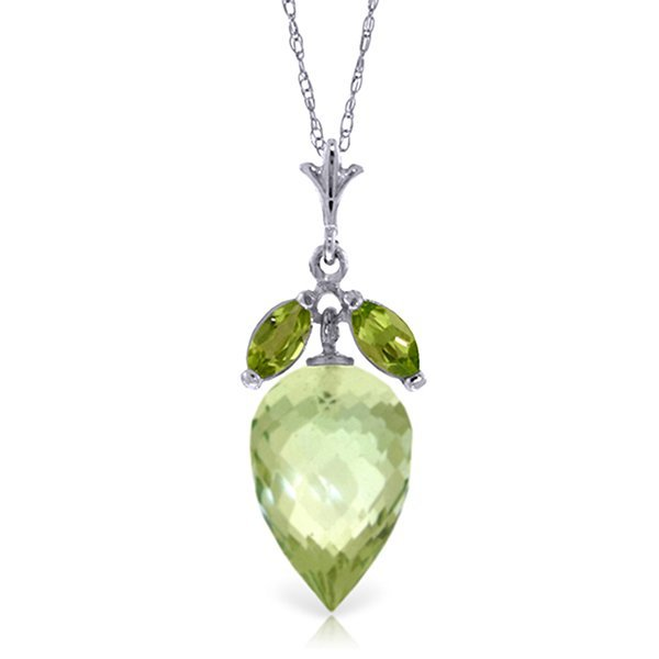 14k White Gold 9.50ct Green Amethyst & Peridot Necklace