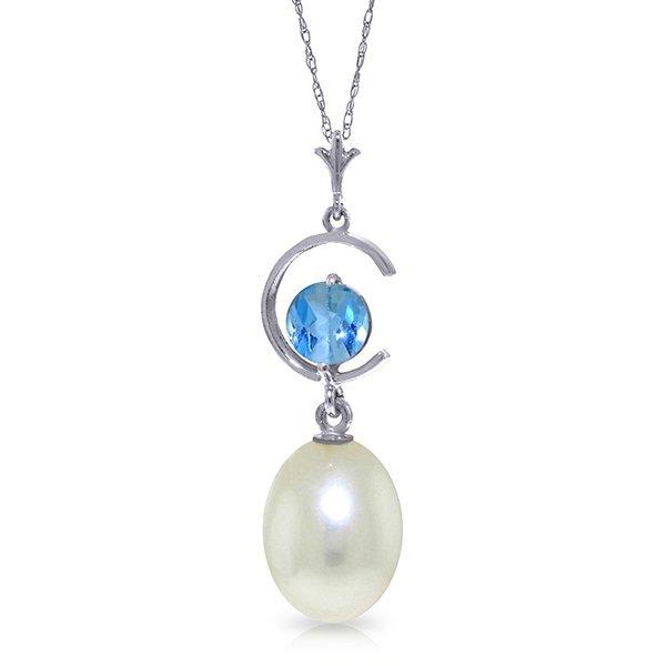 14k WG 0.50ct Blue Topaz & Pearl Necklace