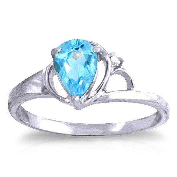 14K White Gold .65ct Pear Blue Topaz & Diamond Ring