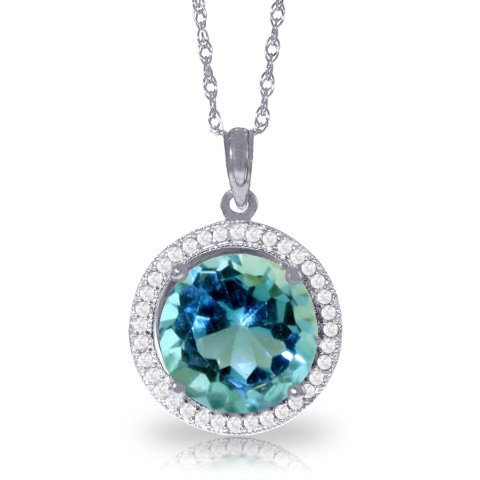 14k WG 7.80ct Blue Topaz & Diamond Necklace