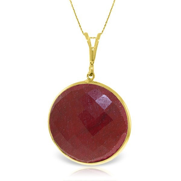 14K Solid  GOLD NECKLACE WITH 23.0ct ROUND RUBY