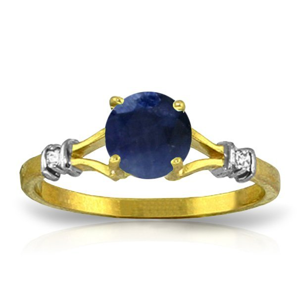 1.00ct Sapphire Ring with Diamond Accent in 14k YG