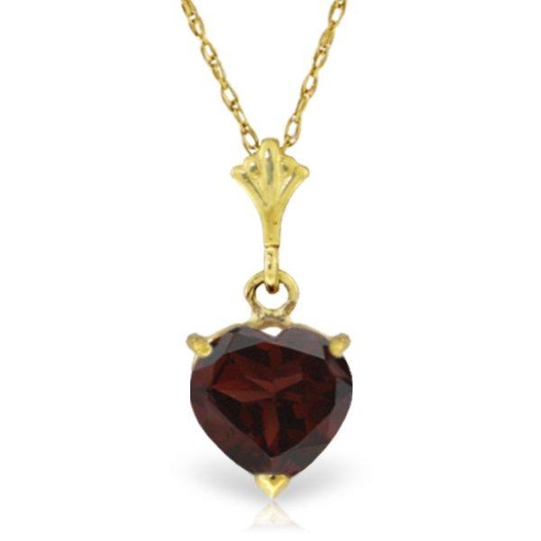 14K Solid Gold 1.15ct Heart Garnet Necklace