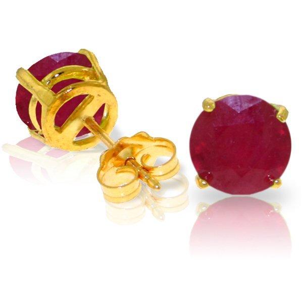 3.50ct Ruby Stud Earrings in 14k Yellow Gold