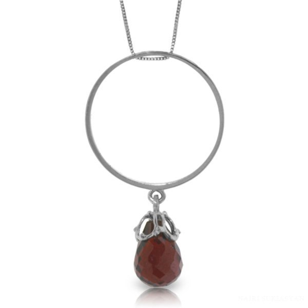 14K White Gold 3.00ct Briolette Garnet Necklace