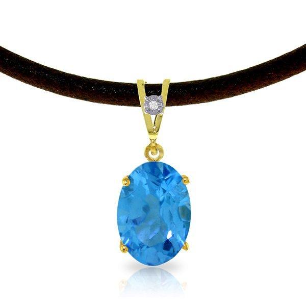 14K Solid Gold 7.55ct Blue Topaz & Diamond Necklace