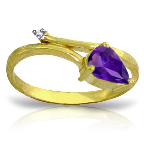 14k Solid Gold 0.82ct Amethyst & Diamond Ring
