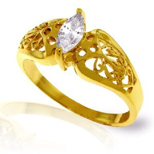 14K Solid Gold .20ct White Topaz FILIGREE Ring