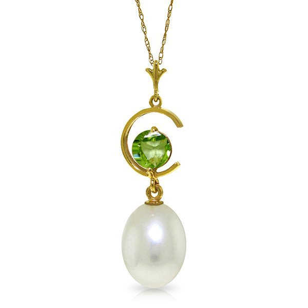 14k YG 0.50ct Peridot & Pearl Necklace