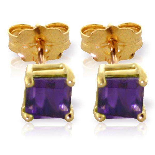 14k Yellow Gold 0.65ct Amethyst Stud Earrings