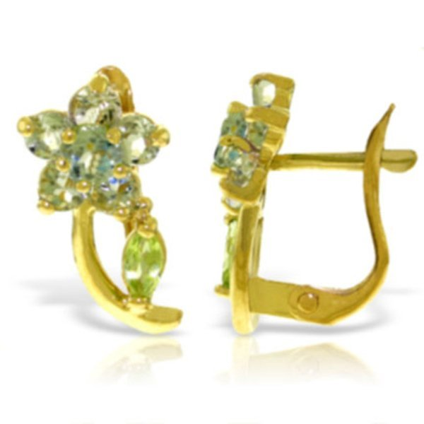 14k YG Aquamarine & Peridot Flower Earrings