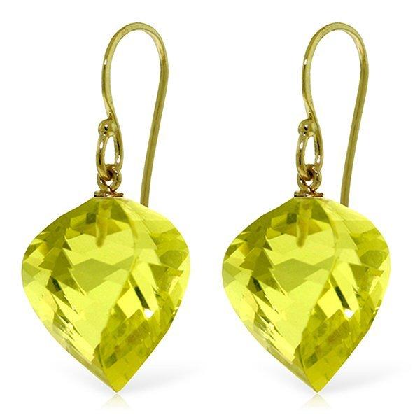 14k Yellow Gold 21.50ct Lemon Quartz Fish Hook Earrings