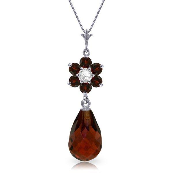 14K White Gold 2.25ct Garnet&Diamond Flower Necklace