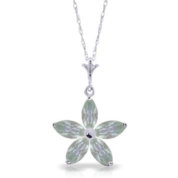 14k WG 1.40ct Aquamarine Flower Necklace