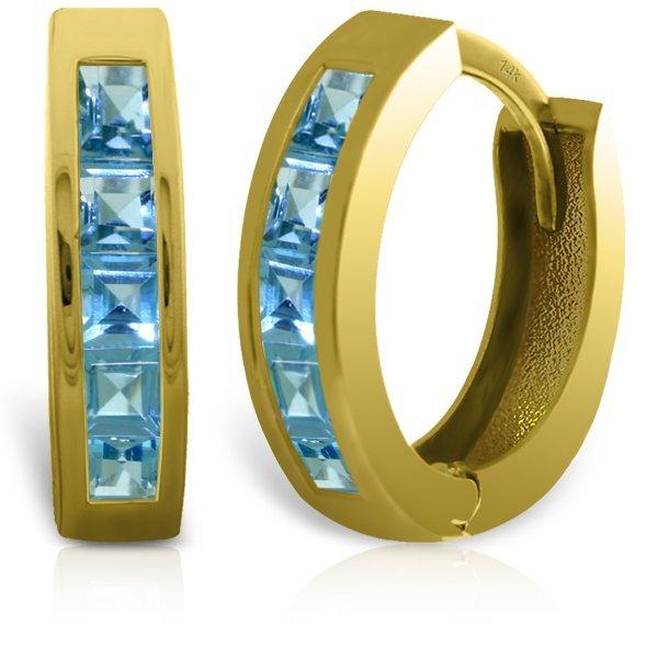 14k Solid Gold 1.20ct Blue Topaz Earrings