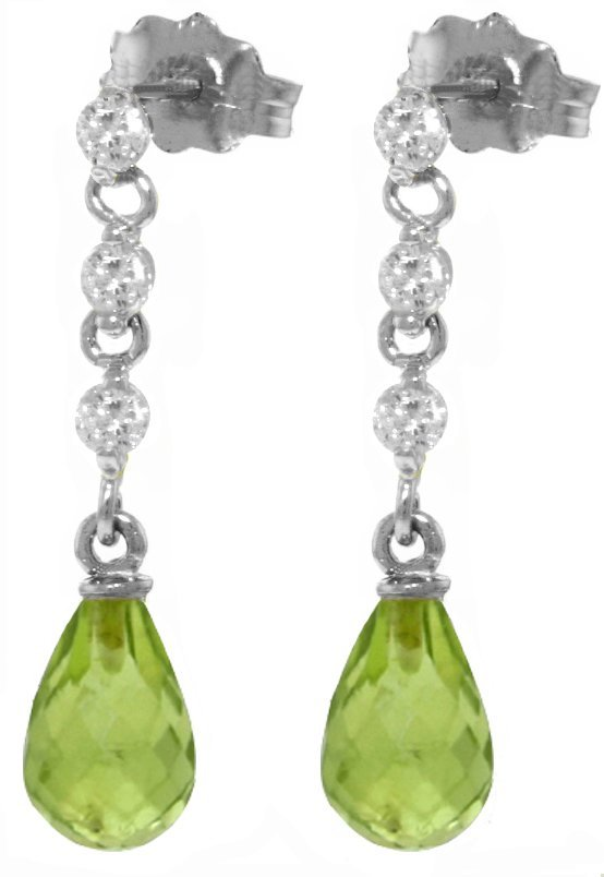 14k 3.0ct Peridot with Diamond Chandelier Earrings