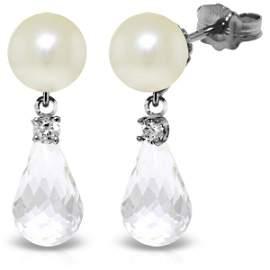 14k WG 4.50ct White Topaz, Diamond & Pearl Earrings
