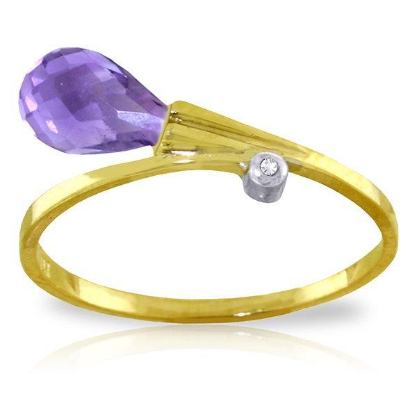 14K YG DIAMOND & 1.50ct BRIOLETTE AMETHYST RING