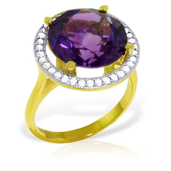 14k Solid Gold 6.0ct Amethyst & Diamond Ring