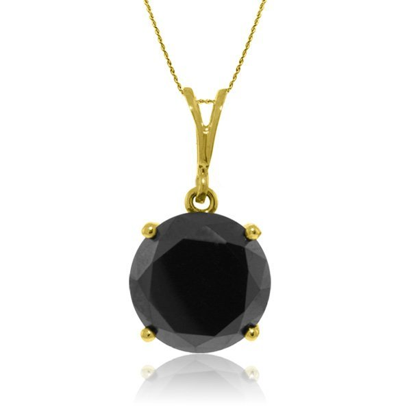 14K Solid  Gold NECKLACE WITH 3.50ct BLACK DIAMOND