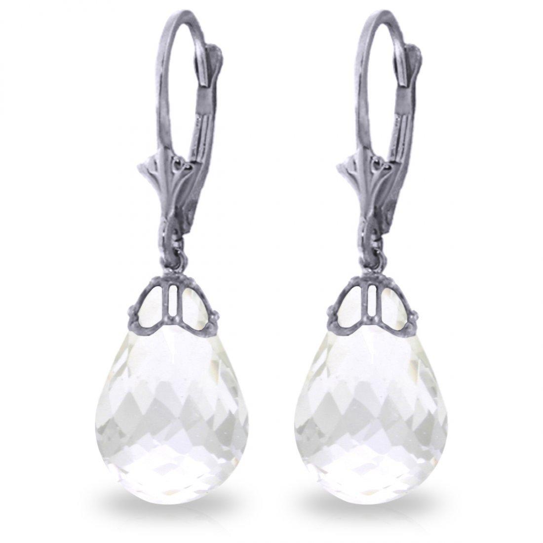14k White Gold 14.0ct White Topaz Earrings