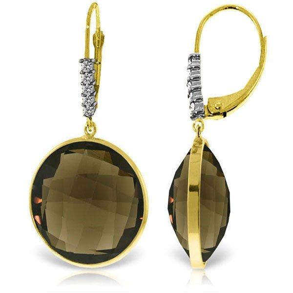14K Solid Gold 34.0ct Smoky Quartz & Diamond Earring