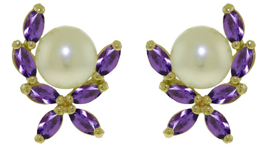 Greek Inspired Pearl and Amethyst Earrings in 14k Gold