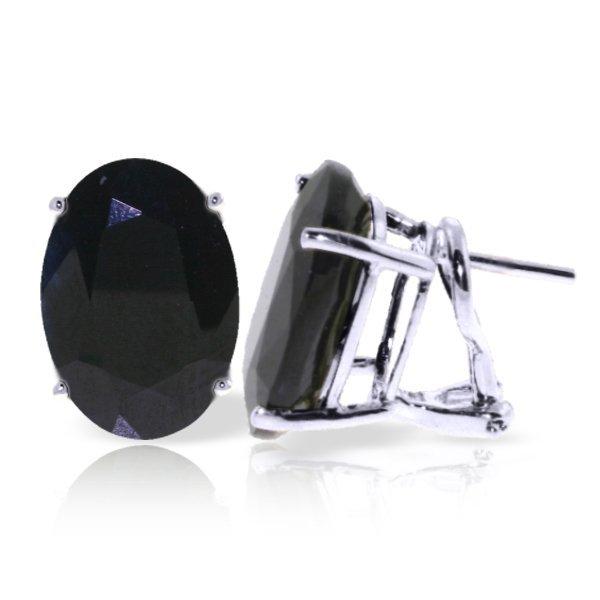 14k WG 17ct Sapphire French Clip Earrings