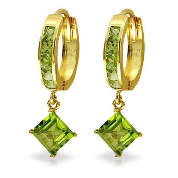14K Solid Gold 3.2ct & .8ct Peridot Dangling Earring