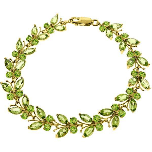 14k Solid Gold Peridot Butterfly Bracelet