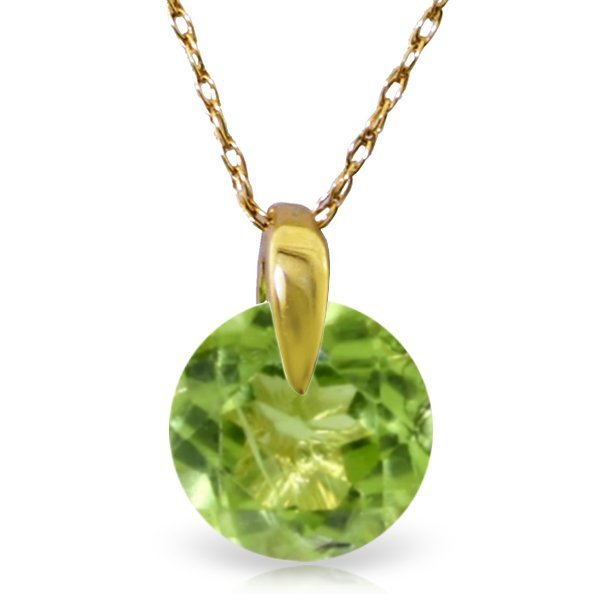 14K Solid Gold 1.00ct Round Cut Peridot Necklace