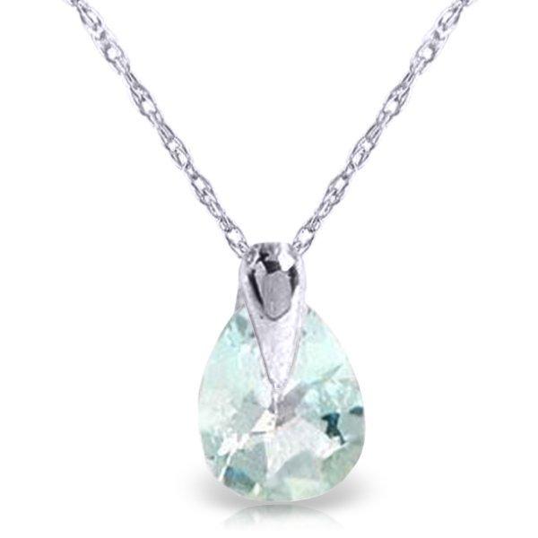 14K White Gold .68ct Pear Aquamarine Necklace