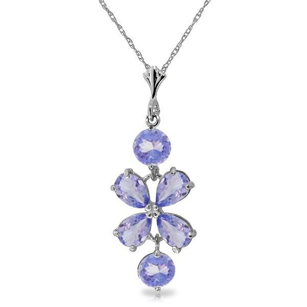 14k White Gold Tanzanite Flower Necklace
