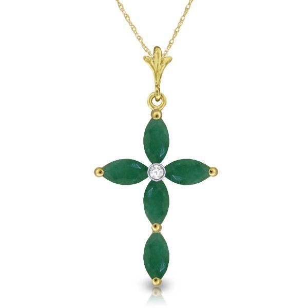 14K Solid Gold 1.50ct Emerald & Diamond Necklace